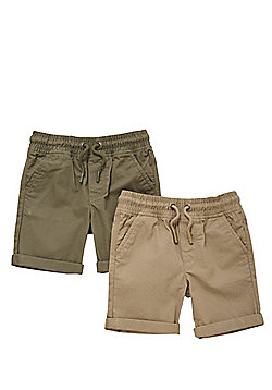 F&F 2 Pack of Drawstring Cargo Shorts - Multi