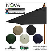 Nova 3m Round Black Wooden Garden Parasol
