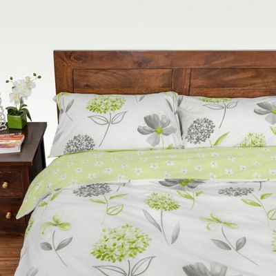 Homescapes Green, White and Grey Floral Duvet Cover Set, Double