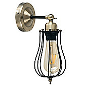 Pomona Industrial Style Caged LED Wall Light, Satin Black & Antique Brass