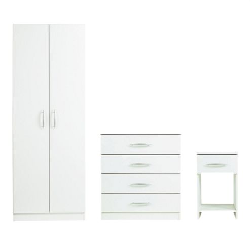 Ashton Double Wardrobe Set, White