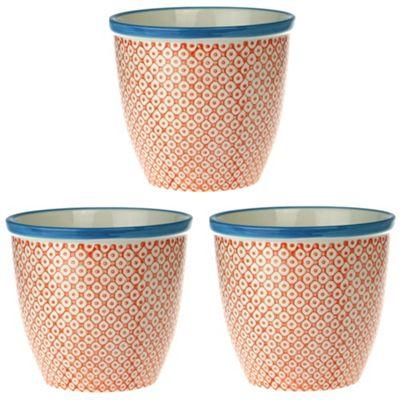 Patterned Plant Pot Porcelain Indoor Outdoor Flower Orange Blue Print Design