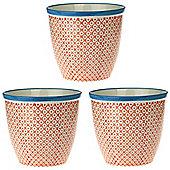 Patterned Plant Pot. Porcelain Indoor / Outdoor Flower Pot - Orange / Blue Print Design - Box of 3