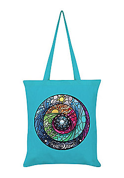 Stained Glass Spectroscope Tote Bag Azure Blue 38x42cm