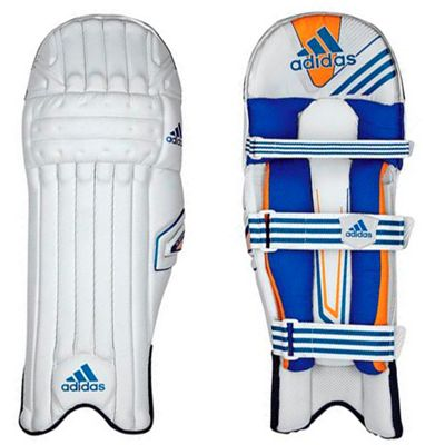 adidas SL Pro Kids Cricket Batting Pads White/Blue - Right Hand Small Boys