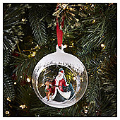Glass Santa Scene Bauble Christmas Tree Decoration