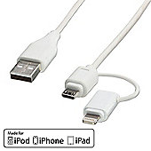 LINDY 31345 USB to Micro-B & Lightning Combo Cable. 1m