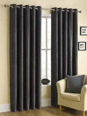 Ribeiro Chenille Eyelet Curtains, Pewter 168x270cm