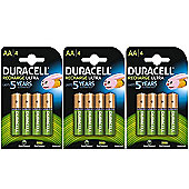 12 X Duracell AA 2500 mAh Rechargeable Batteries NiMH