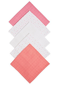 F&F 5 Pack of Polka Dot and Plain Square Muslins - Multi