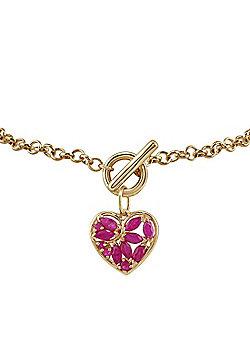 Gemondo 9ct Yellow Gold 0.88ct Ruby Heart Charm 19cm Bracelet