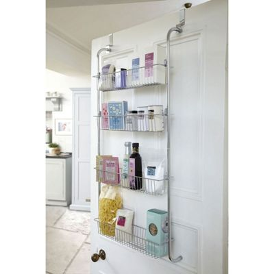Taylor & Brown 4 Tier Chrome Over Door Hanging Kitchen Bathroom Storage Rack Shelves