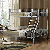 Happy Beds Nexus Metal Kids Triple Sleeper Bunk Bed with 2 Open Coil Spring Mattresses - Silver - 4ft6 Double