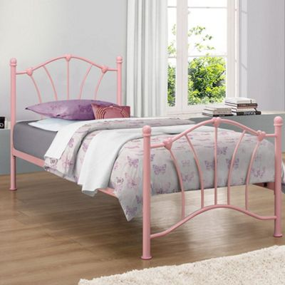 Happy Beds Sophia Metal Low Foot End Bed with Orthopaedic Mattress - Pink - 3ft Single