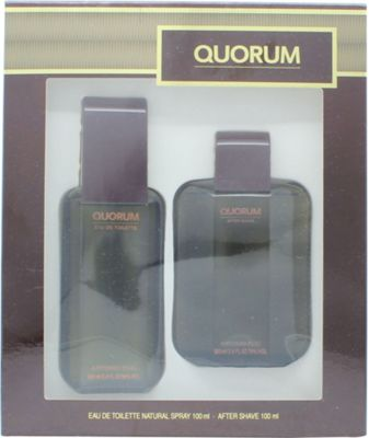 Antonio Puig Quorum Gift Set 100ml EDT + 100ml Aftershave For Men