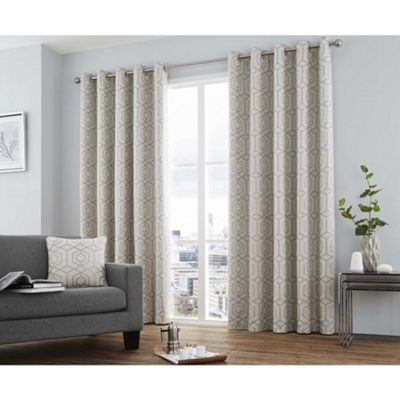Curtina Camberwell Silver Eyelet Curtains - 90x90 Inches (229x229cm)