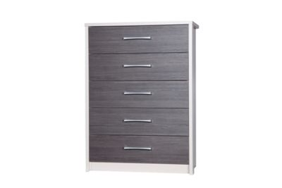 Alto Furniture Avola 5 Drawer Chest - Cream Carcass With Grey Avola