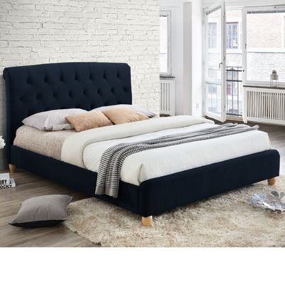 Happy Beds Brompton Velvet Fabric Low Foot End Bed with Orthopaedic Mattress - Midnight Blue - 4ft Small Double