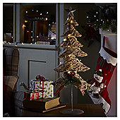 Medium Pre Lit Rattan Christmas Tree Room Decoration