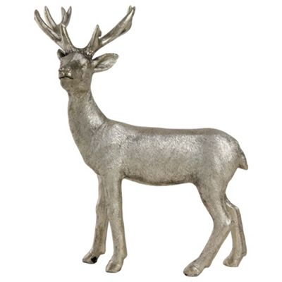 21cm Silver Polyresin Standing Stag Christmas Ornament