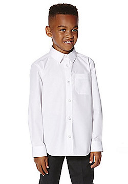 F&F School 2 Pack of Boys Easy Care Long Sleeve Shirts - White