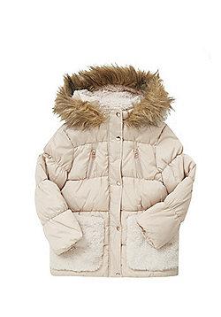 F&F Faux Fur Trim Long Line Puffer Jacket - Beige