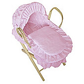 Cuddles Collection Dolls Broderie Anglais Moses Basket (Pink)