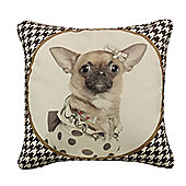 Brown Dog-tooth Chihuahua Cushion Stylish Retro Home Decor