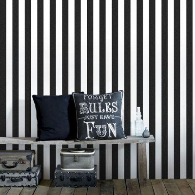 Superfresco Helen Glitter Stripe Black & White Wallpaper
