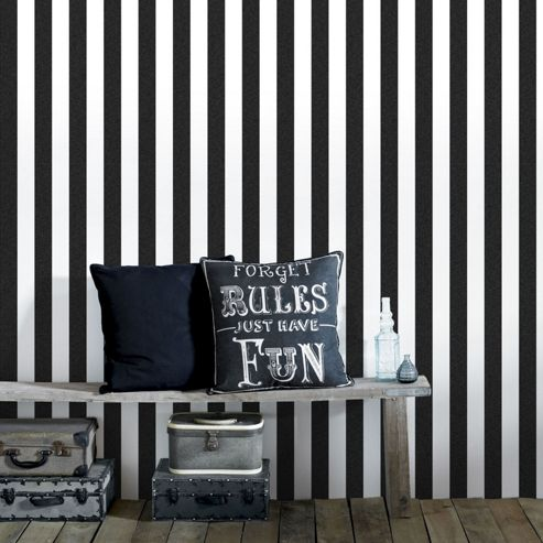 Superfresco Helen Glitter Stripe Black & White Wallpaper