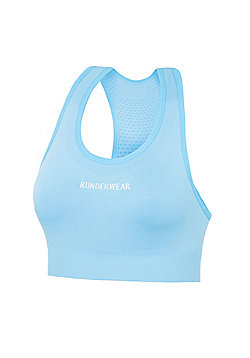 Runderwear Womens Ladies Running Crop Top Sports Bra Blue - Blue