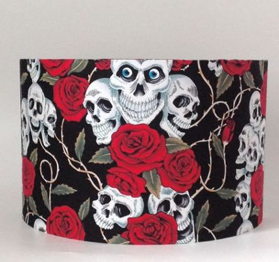 Skulls and Roses, Large Fabric Light Shade