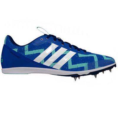 adidas Distancestar Running Spike Trainer Shoe Blue/Green - UK 6.5