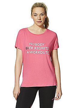 F&F Active Glitter Slogan Cancer Research Charity T-Shirt - Pink