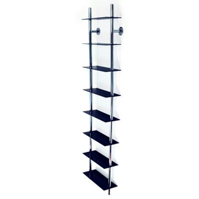 Maxwell - Wall Mounted 8 Tier Glass Cd / Dvd / Blu-ray Storage Shelf - Black