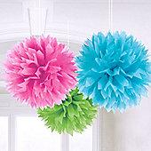 Solid Colour Decorations Multi Coloured Pom Poms - 40cm