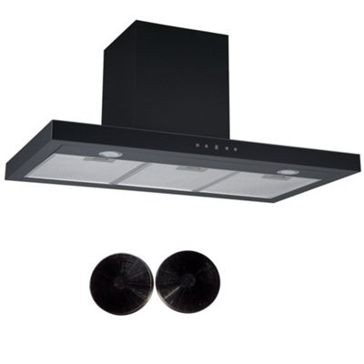 Cookology LINT901BK Black Linear Cooker Hood, Touch Control 90cm Extractor Fan & Carbon Filters