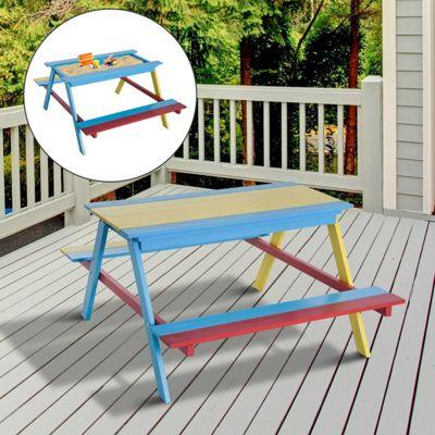 Homcom Kids Table Bench Combo Sandbox Sandpit Garden 4 Chidlren Creativity Seat Chair