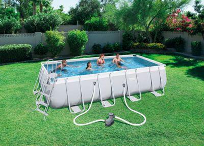 Bestway 18X9X48 Power Steel Frame Swimming Pool Set