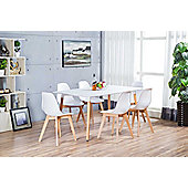 Anton Large White Wood Rectangle Dining Table And 6 White Stockholm Chairs