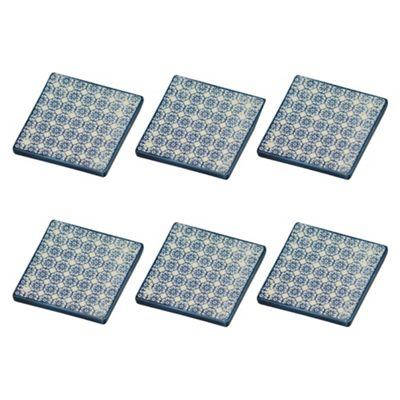 Patterned Tea / Coffee Drinks Coaster - Square - Blue Flower Design - x6