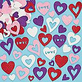 Kids Crafts Heart Glitter Foam Stickers (120 Pcs)