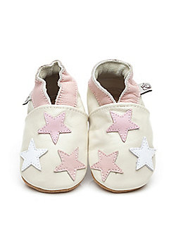 Olea London Soft Leather Baby Shoes Little Stars Pink - Pink