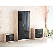 Kanya Bedroom Trio Set - Black & Oak