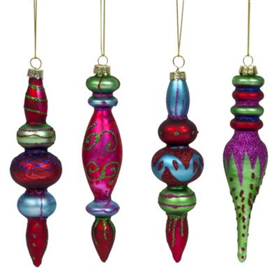 Set of 4 Brightly Coloured Glittery Glass Christmas Tree Bauble Decorations