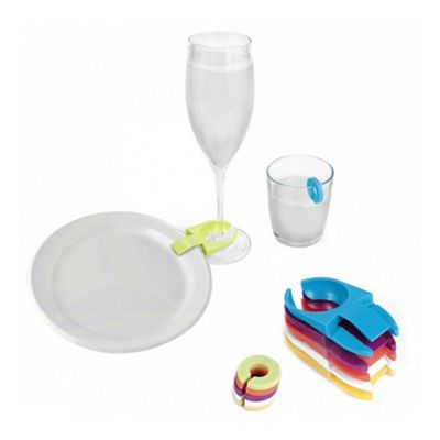 Jeray 6 Plate Clips and 6 Glass Markers Set, Mixology Collection, Party Pieces