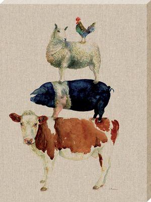 Jane Bannon Farmyard Fun Canvas Print 30 x 40 x 3.8cm