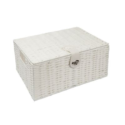 Woodluv White Resin Woven Storage Box Hamper - Large