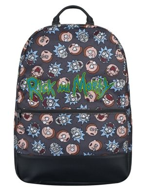 Rick and Morty Logo And Big Faces Backpack, Grey