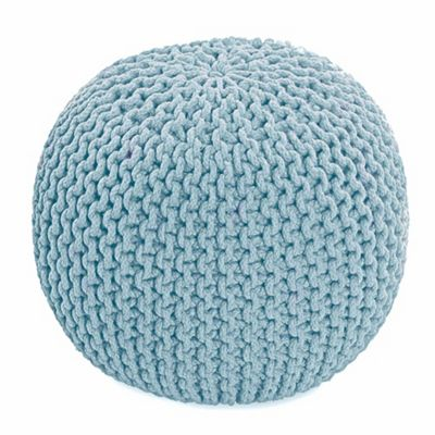 Homescapes Pastel Blue Knitted Cotton Pouffe Footstool Round 35 x 40 cm